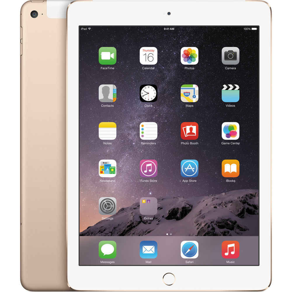 "Apple iPad Air 2 9.7"" Tablet 128GB HD WiFi + Unlocked 4G, Gold"