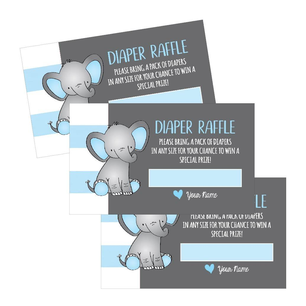 25 Diaper Raffle Ticket Lottery Insert Cards For Blue Boy Elephant Baby Shower Invitations, Supplies and Games For Baby Gender Reveal Party, Bring a Pack of Diapers to Win Favors, Gifts and Prizes