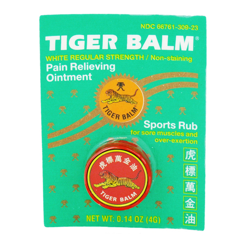Tiger Balm White Regular Strength Pain Relieving Ointment, Non-Staining - .14 Oz