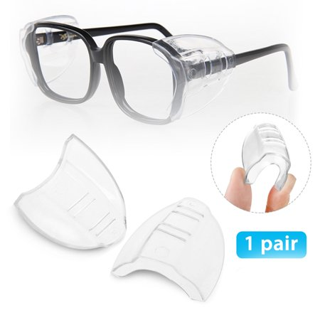 One Pair Slip On Clear Side Shields for Safety Glasses, Safety Glasses Side Shields, Fits Small/Medium/Large (Eyeglass Arm Covers)