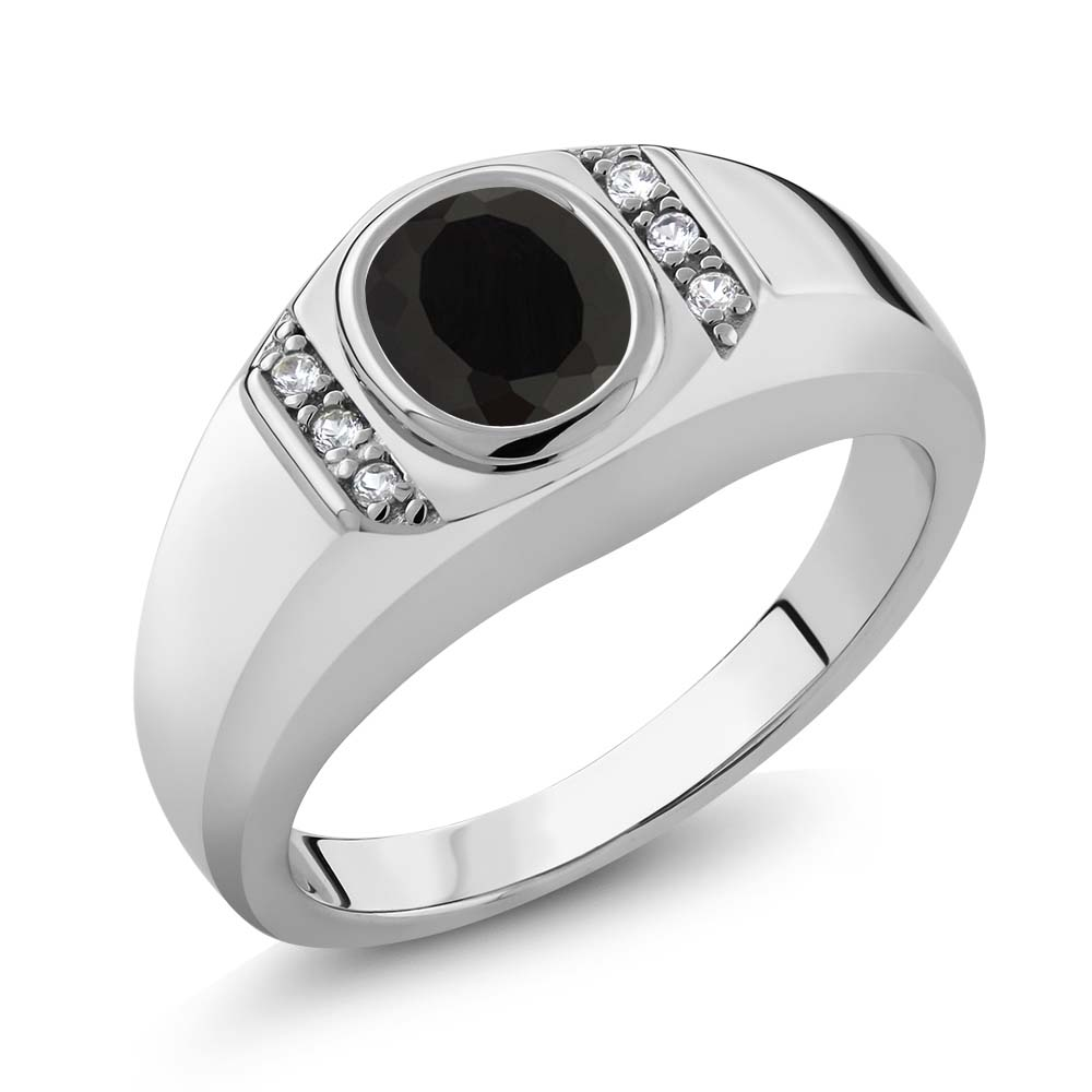1.31 Ct Oval Black Onyx White Created Sapphire 925 Sterling Silver Men's Ring