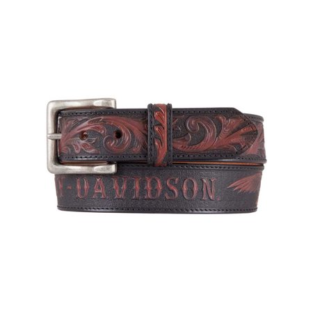 Harley-Davidson Men's Freedom Eagle Genuine Leather Belt, Black/Brown HDMBT11447, Harley Davidson Coastal Harley Davidson Leather