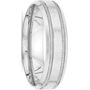 USA - 14k White Gold Heavy Comfort Fit Fancy Band