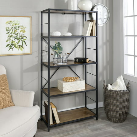 Manor Park 60 Rustic Metal And Wood Media Bookshelf Bookcase Barnwood