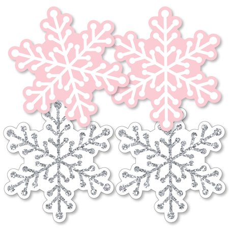 Pink Winter Wonderland - Snowflake Decorations DIY Holiday Snowflake Birthday Party or Baby Shower Essentials - 20 Ct - Winter Wonderland 1st Birthday Ideas