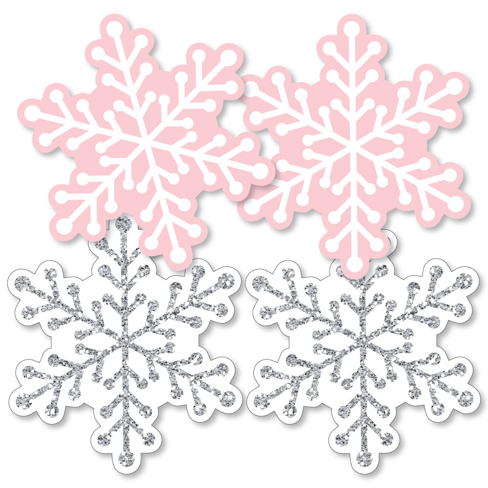 Pink Winter Wonderland - Snowflake Decorations DIY Holiday Snowflake Birthday Party or Baby Shower Essentials - 20 Ct