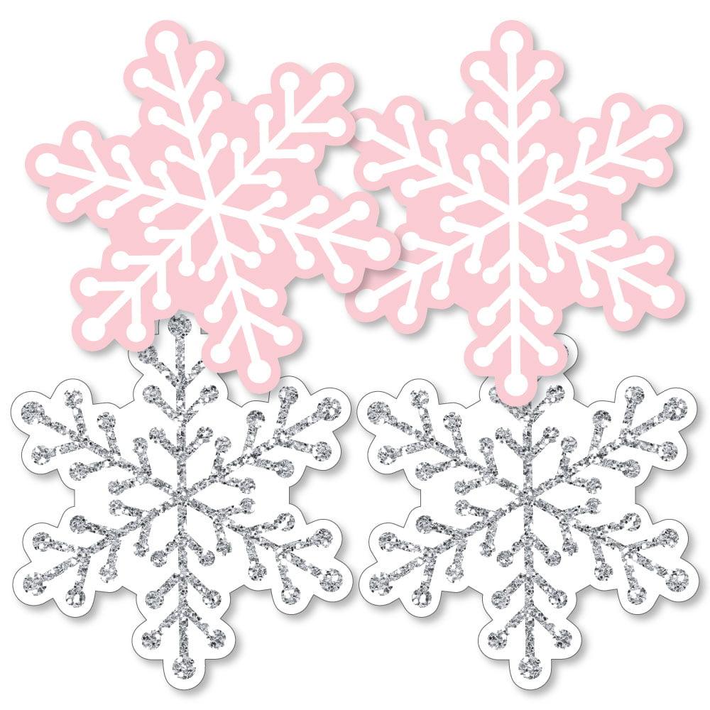 Pink Winter Wonderland - Snowflake Decorations DIY Holiday Snowflake Birthday Party or Baby Shower Essentials - 20 Ct