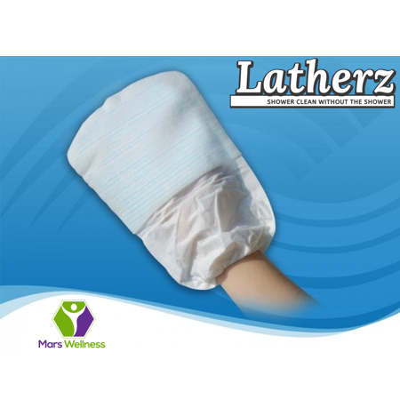 NEW Latherz All - in - 1 No - Rinse Shower Cleansing Bathing Mitt