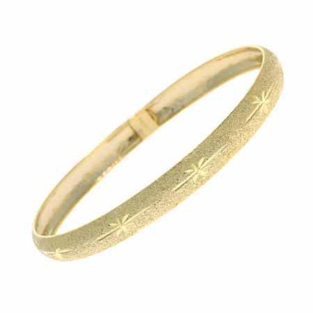 18K Gold over Sterling Silver Etched Satin Bangle Bracelet