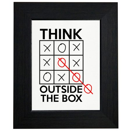 Tic Tac Toe - Think Outside Of The Box - Winner Framed Print Poster Wall or Desk Mount Options ()