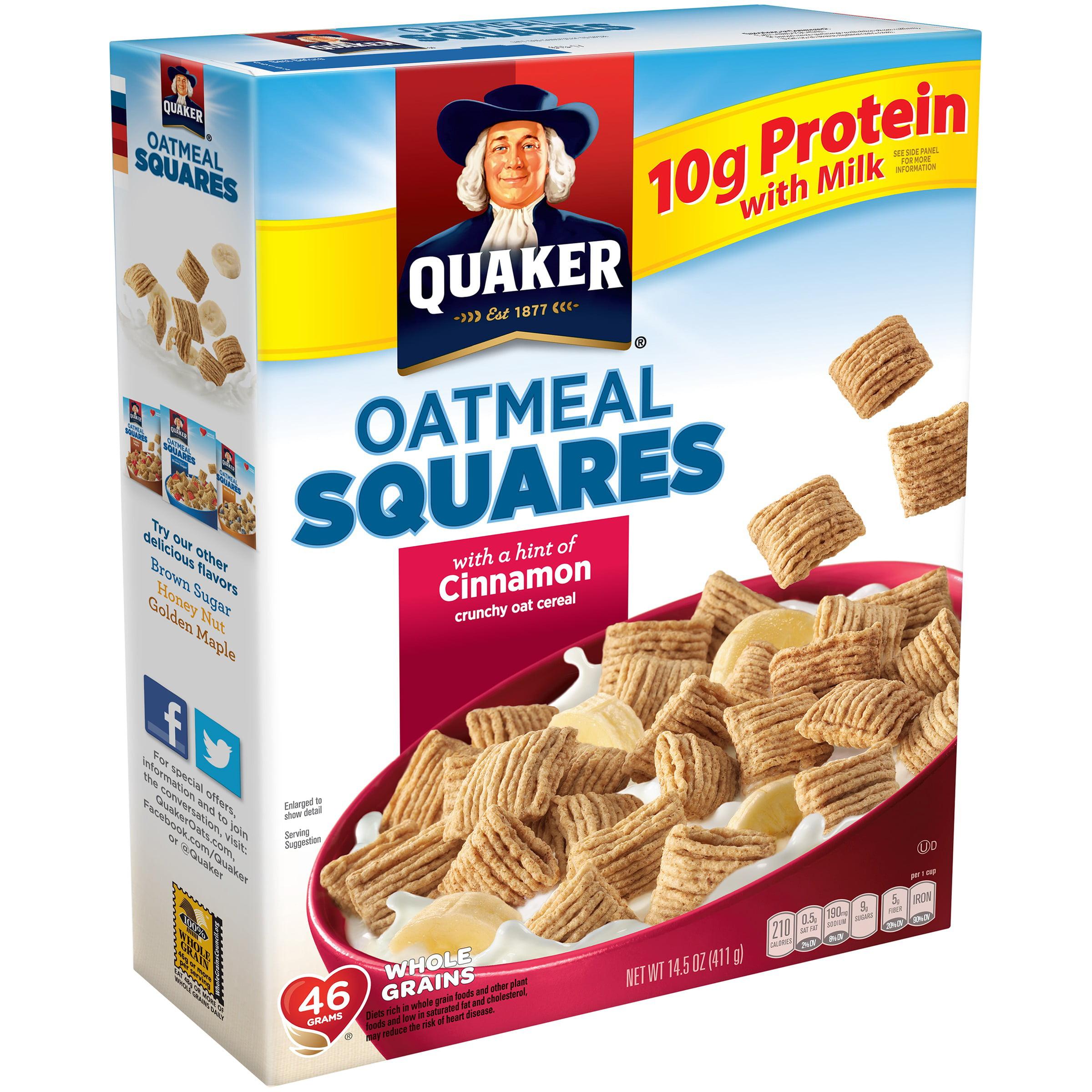 (2 Pack) Quaker Oatmeal Squares Breakfast Cereal, Cinnamon, 14.5 oz Box