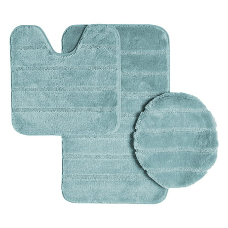 Turquoise Ribbed (Ribbed Design Soft Pile Solid Color 3 Piece Bathroom Rug Set, Bath Mat, Contour Rug, Universal Lid Cover, Louise (Aqua))