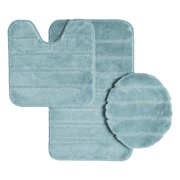 Ribbed Design Soft Pile Solid Color 3 Piece Bathroom Rug Set, Bath Mat, Contour Rug, Universal Lid Cover, Louise (Aqua)