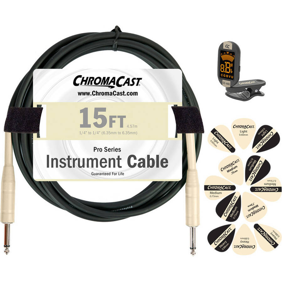 ChromaCast Guitar Accessory Pack with 15' Straight-Straight Instrument Cable, Tuner and Pick Sampler