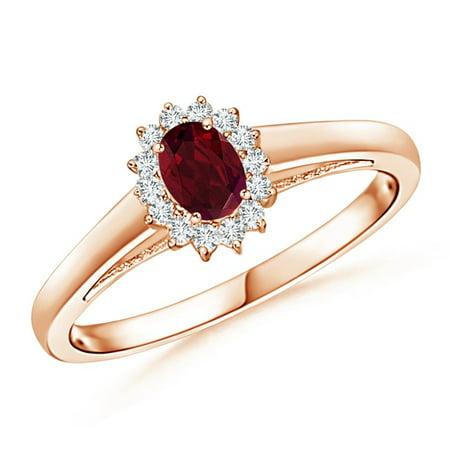 Valentine Jewelry Gift - Princess Diana Inspired Garnet Ring with Diamond Halo in 14K Rose Gold (5x3mm Garnet) - -