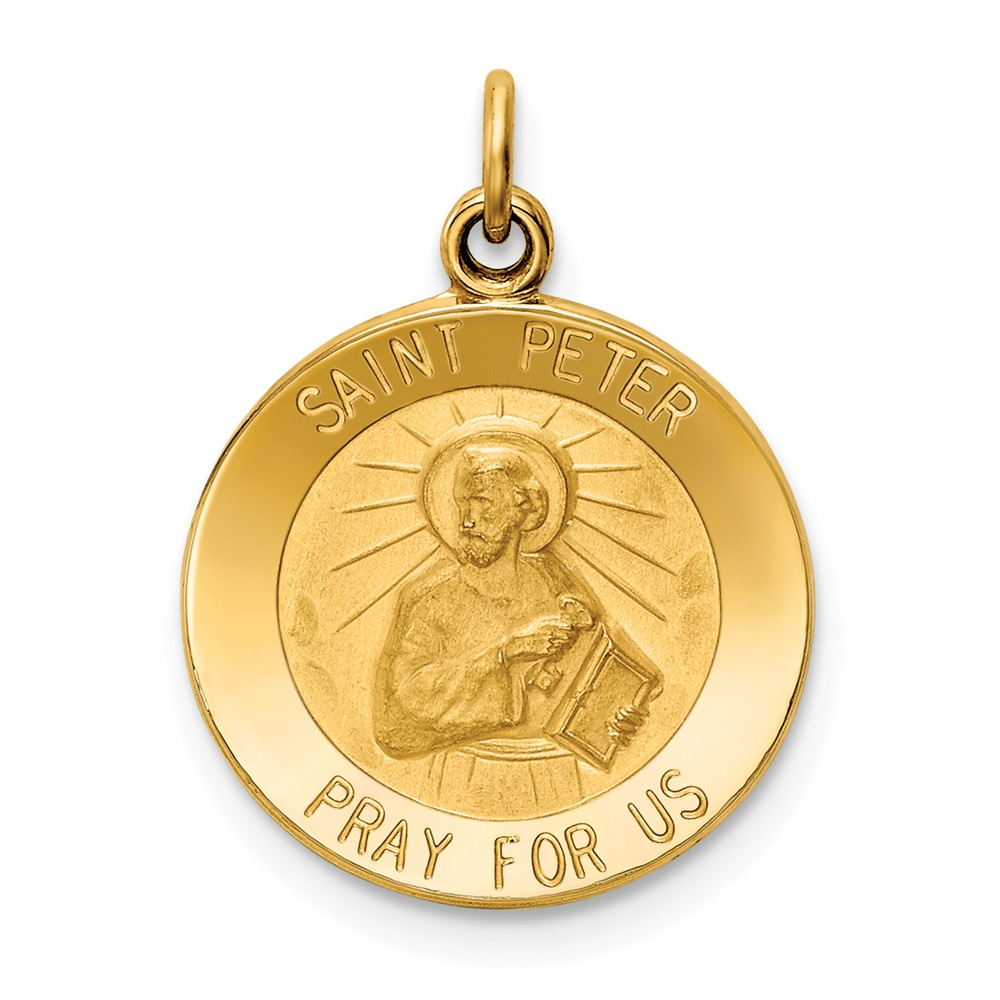 14k Yellow Gold Engravable Saint Peter Medal Charm (0.9in long x 0.6in wide)