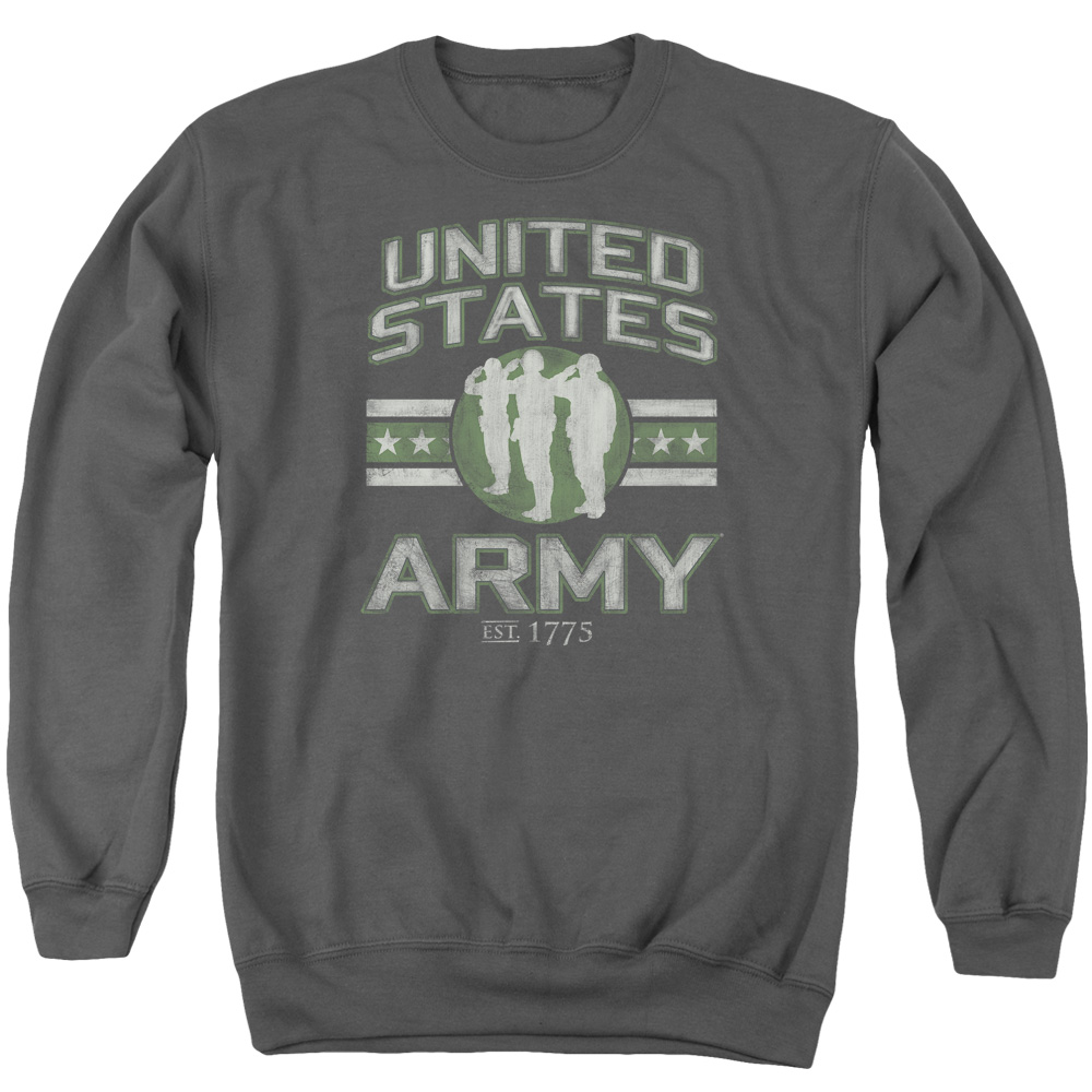 Army United States Army Salute Distressed Vintage Style Adult Crew Sweatshirt