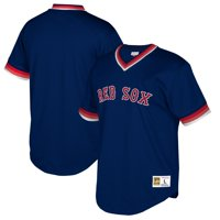 Boston Red Sox Mitchell & Ness Cooperstown Collection Mesh Wordmark V-Neck Jersey - Navy