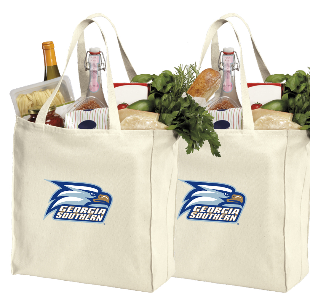 Georgia Southern University Shopping Bags or Cotton Georgia Southern Grocery Bags - 2 Pc Set