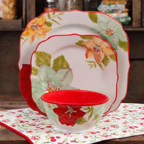 The Pioneer Woman Poinsettia 12 Piece Dinnerware Set