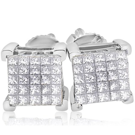 1 Ct Diamond Princess Cut Screw Back Studs Womens Earrings 10k White