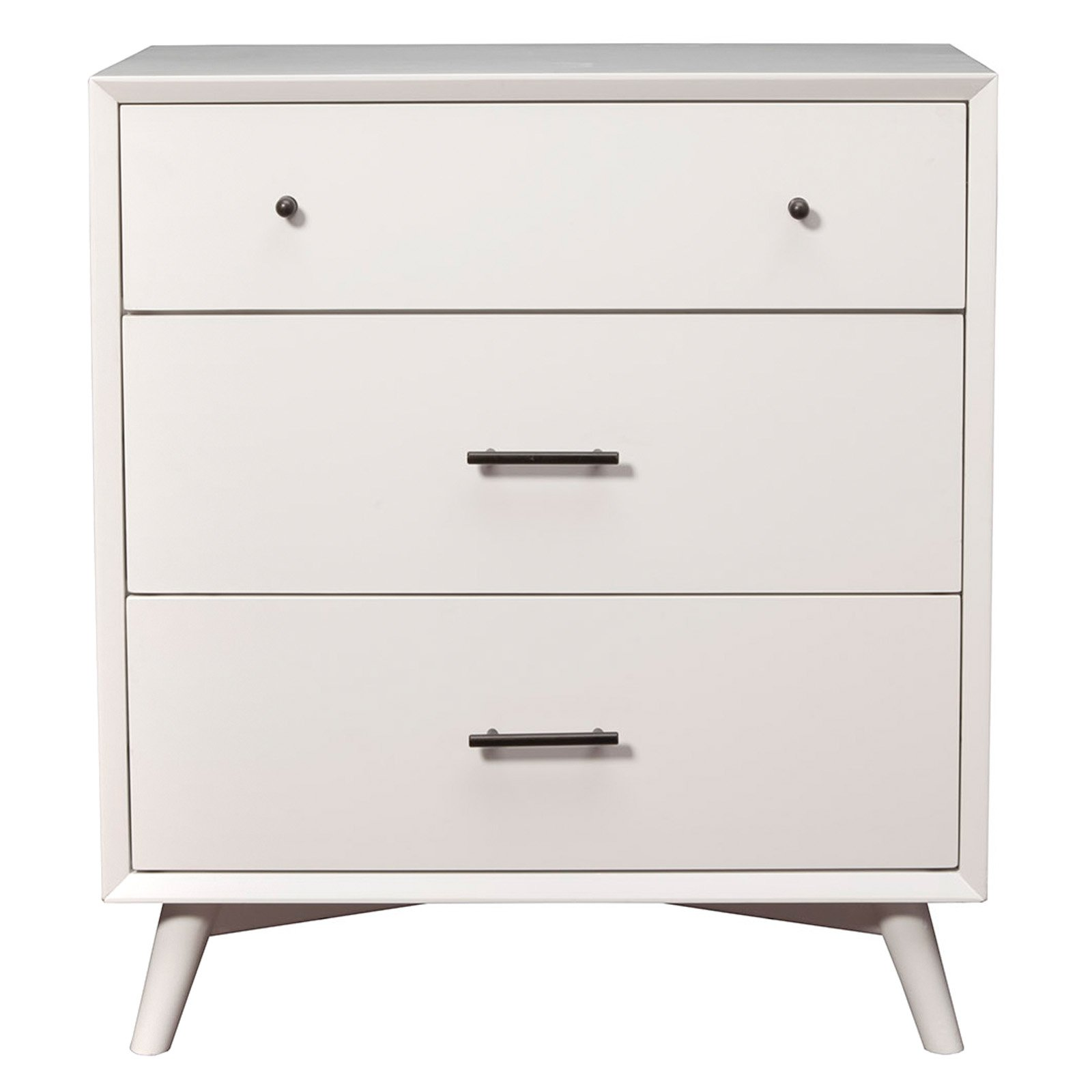 Flynn Mid Century Modern 3 Drawer Small Chest In White Finish by Alpine Furniture