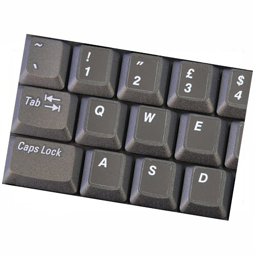 HQRP UK / USA Laminated QWERTY Keyboard Stickers for All PC & Laptops with White Lettering on Black Background