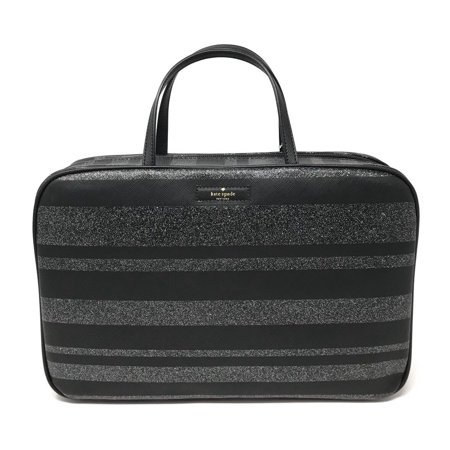 new concept 9cd0d 49f7d Kate Spade New York Haven Lane Makeup Travel Cosmetic Bag Black Glitter  Stripe
