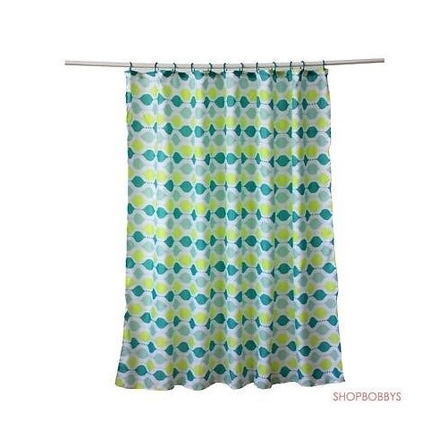 Yasmin Fabric Canvas Shower Curtain, Ogee Design, Green-Blue, 70x72