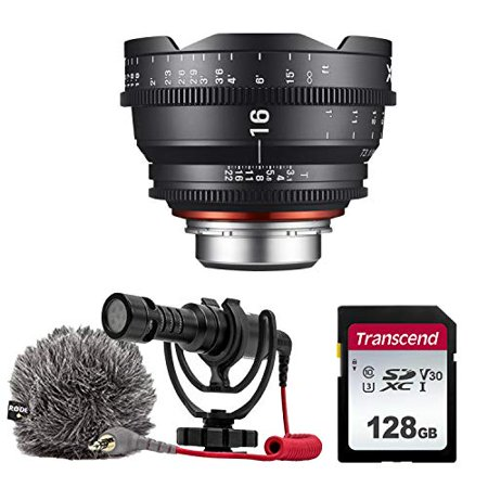 XEEN by ROKINON 16mm T2.6 Professional Cine Lens for Sony FE Mount + Rode VideoMicro Compact On-Camera Microphone with Shock Mount and Furry Windshield + 128GB High Speed Memory Card