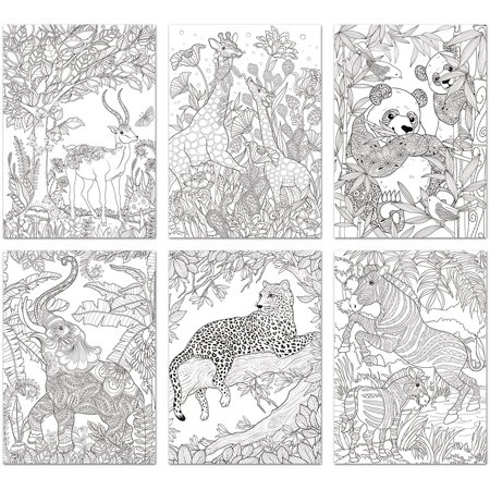 living in color art therapy coloring pages 6 sheetspkg safari - Art Therapy Coloring Pages Animals