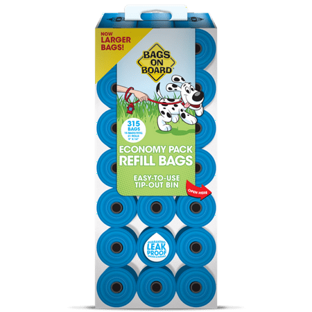 Bags On Board Dog Poop Bags | Strong, Leak Proof Dog Waste Bags | 9 x14 Inches, 315 Blue