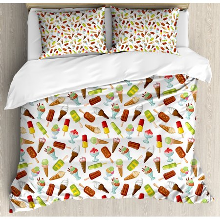 Ice Cream King Size Duvet Cover Set, Frozen Desserts in Wafer Cone Glazed Eskimo with Whipped Cream Chocolate Sundae, Decorative 3 Piece Bedding Set with 2 Pillow Shams, Multicolor, by Ambesonne