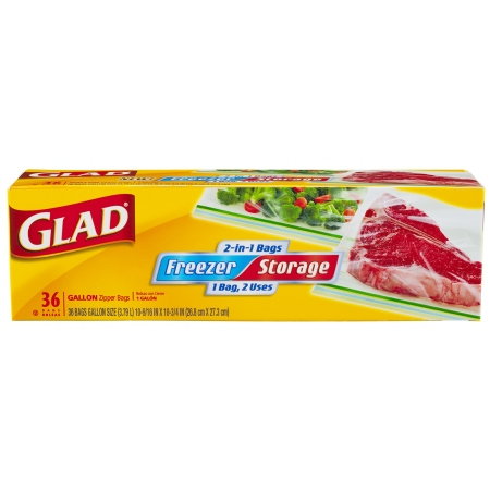 Glad Food Storage Bags, 2-in-1 Zipper Gallon 36.0 ea (Pack of 2)