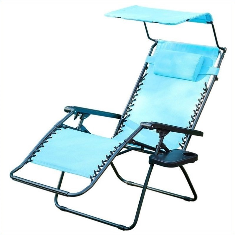Pemberly Row Oversized Chair with Sunshade in Pacific Blue