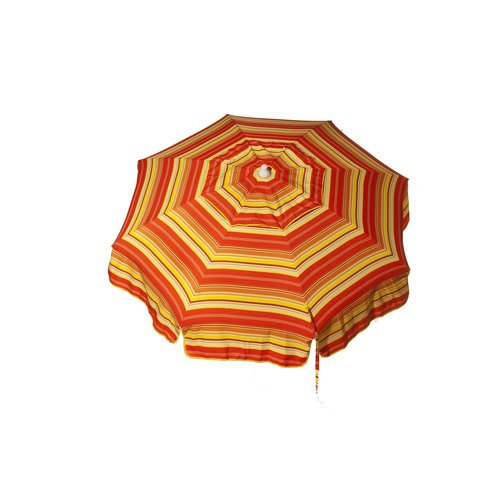 DestinationGear Italian 6' Umbrella Acrylic Stripes Red, Orange and Yellow Beach Pole