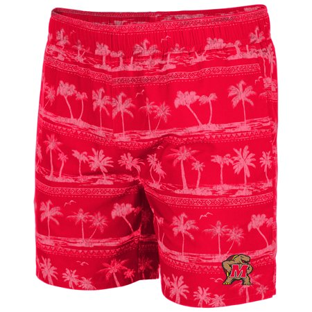 Maryland Terrapins Colosseum Maui Swim Shorts - Red (Maryland Swim Trunks)