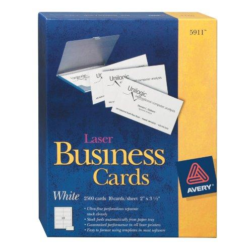 "Avery Business Card - For Laser Print - 2"" X 3.50"" - 2500 / Box - White (AVE5911)"