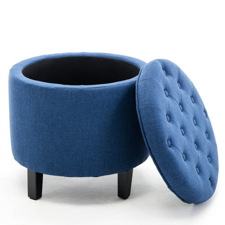 Belleze Nailhead Round Tufted Storage Ottoman Large Footrest Stool Coffee Table Lift Top, Blue ()