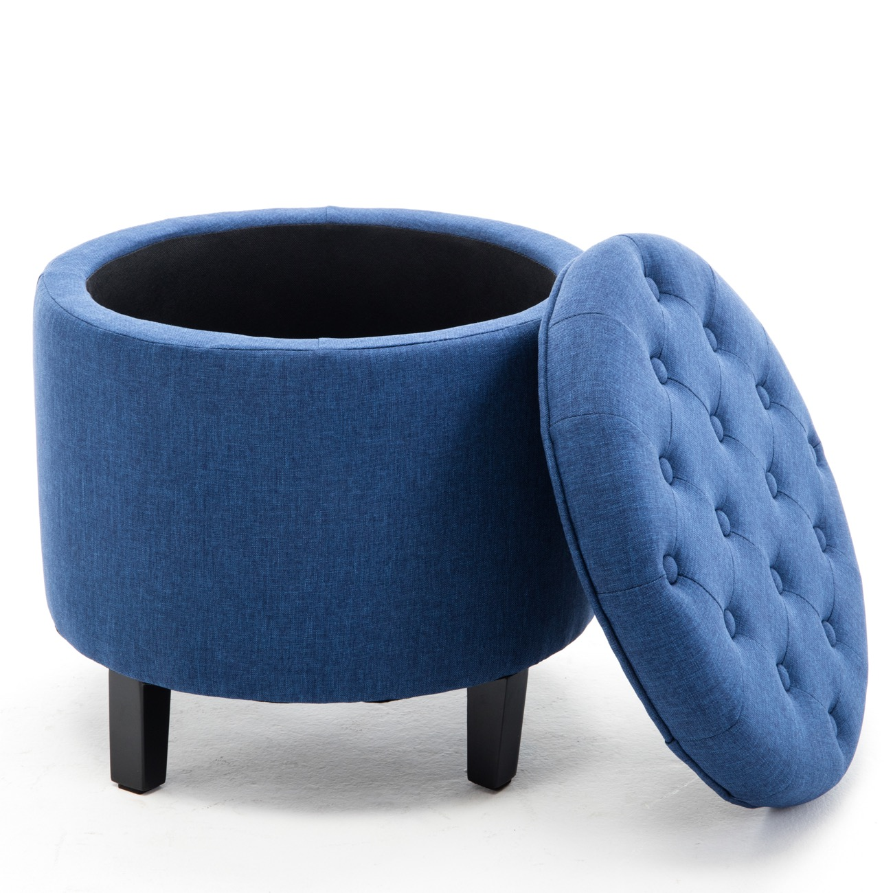 Belleze Nailhead Round Tufted Storage Ottoman Large Footrest Stool Coffee Table Lift Top, Blue