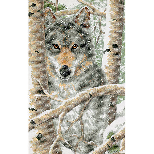 "Dimensions ""Wintry Wolf"" Stamped Cross Stitch Kit, 9"" x 14"""