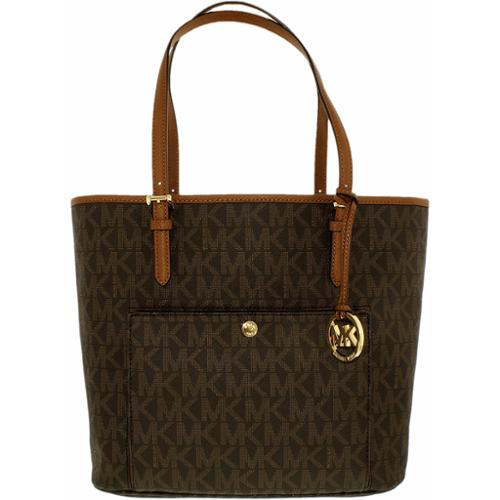 Michael Kors Women's Large Jet Set Snap Pocket Leather Top-Handle Tote - Brown