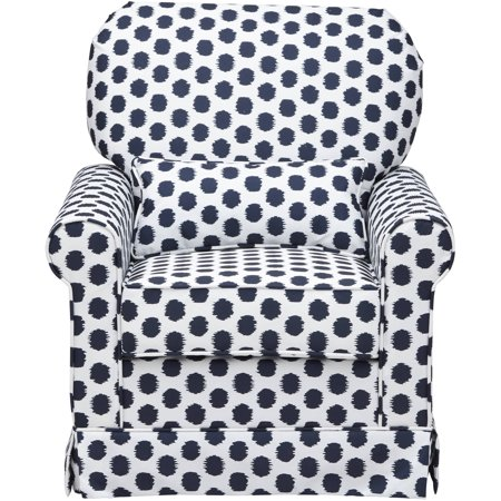 Storkcraft Polka Dot Upholstered Swivel Glider, White/Navy