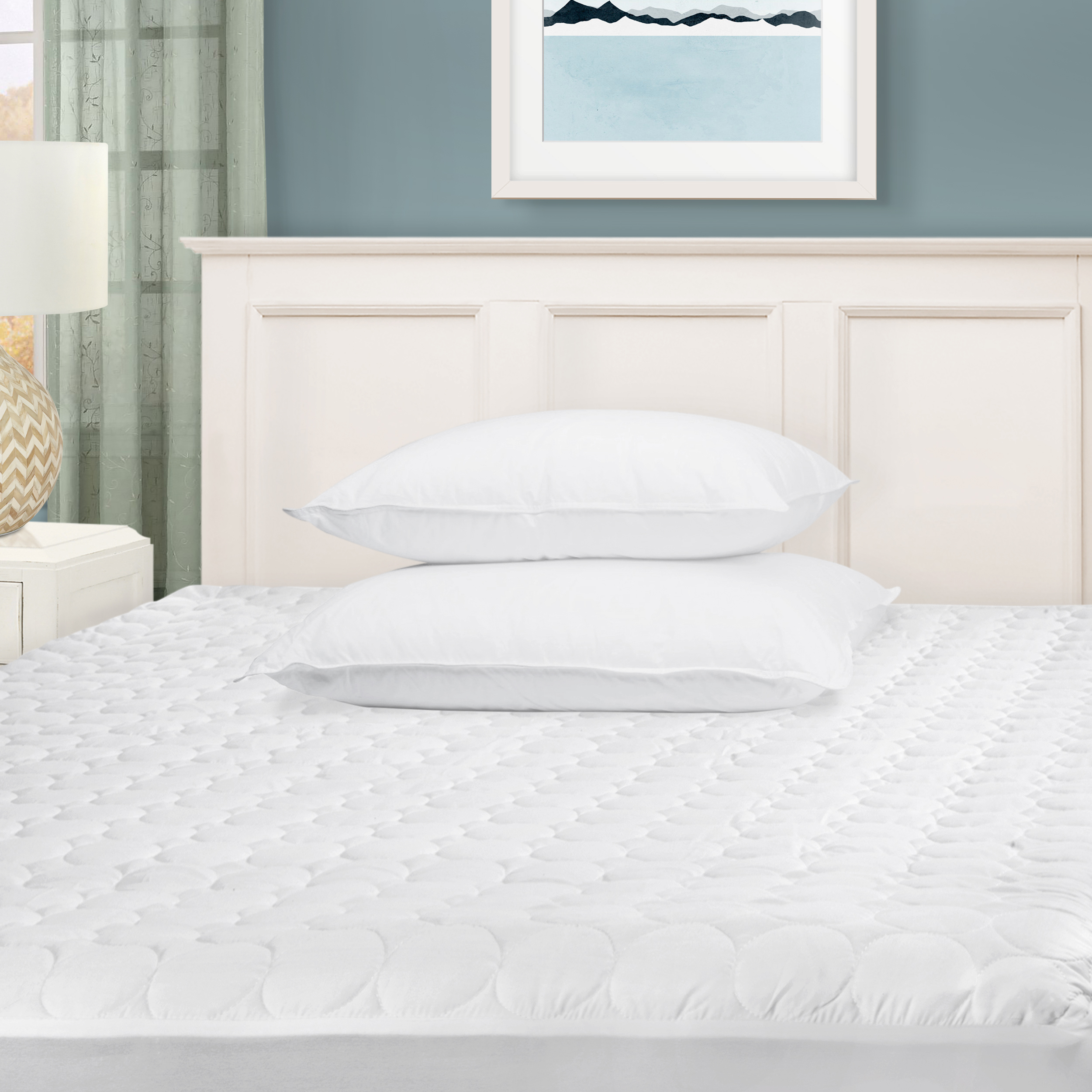 Superior Quilted White, Hypoallergenic, Fully Elasticated Deep Pockets, Microfiber... by Superior