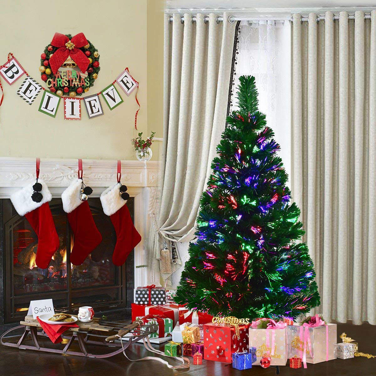 Costway 4Ft Pre-Lit Fiber Optic Artificial PVC Christmas Tree w/ Metal Stand Holiday