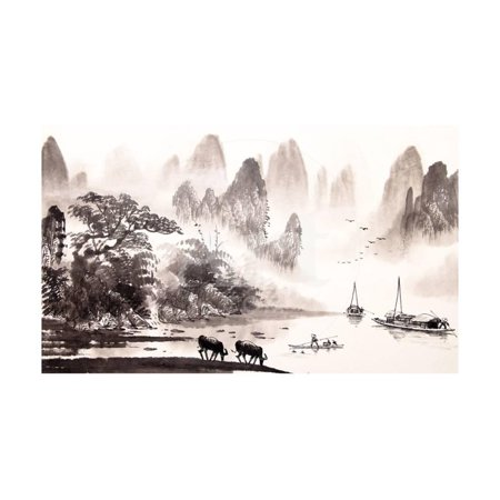 Chinese Landscape Watercolor Painting Print Wall Art By baoyan