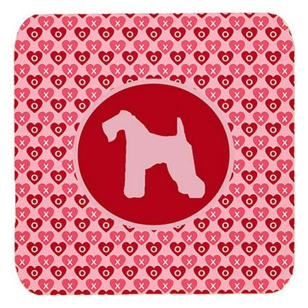 Kerry Blue Terrier Valentine Hearts Foam Coasters, Set - 4 (Blue Coasters)