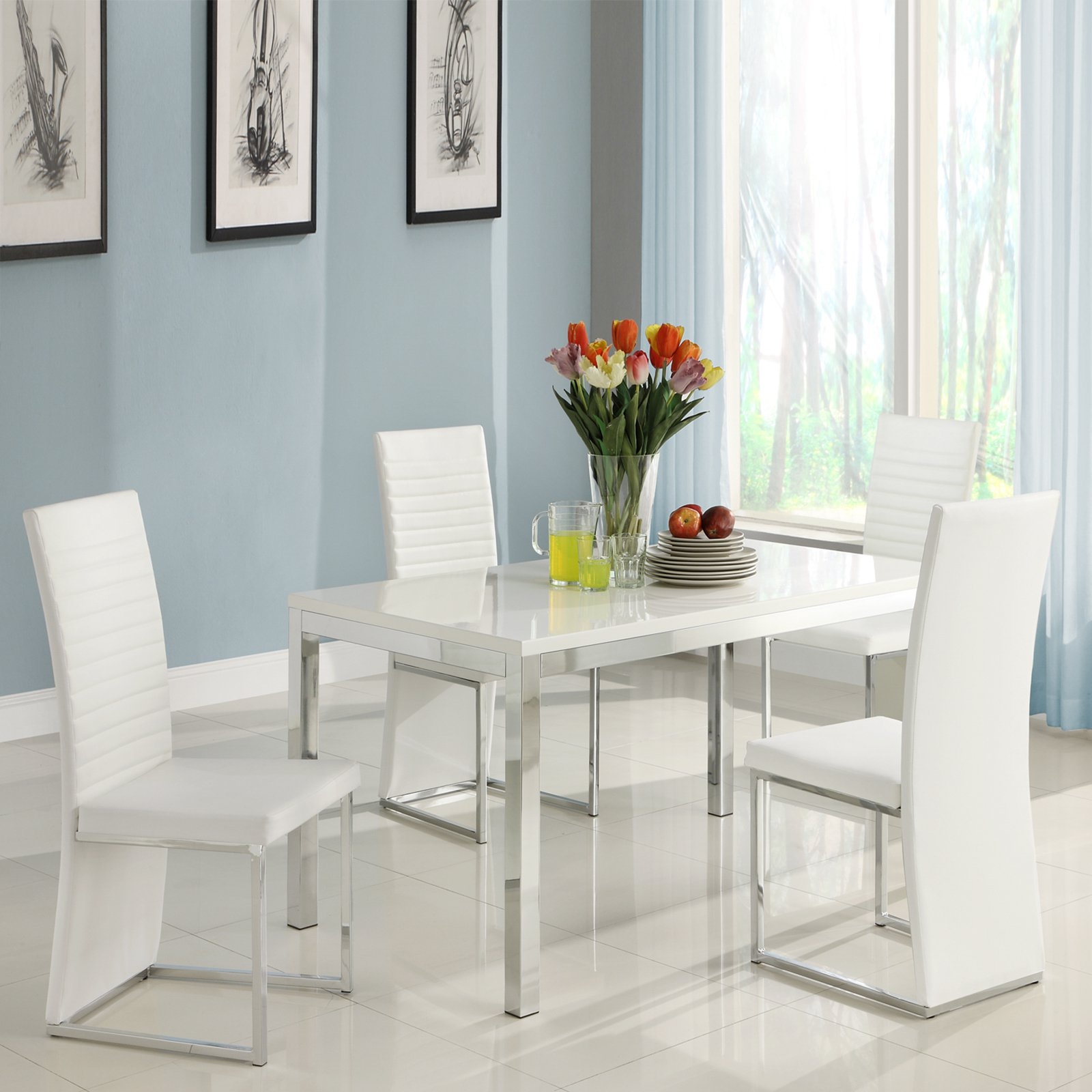Genial Homelegance Clarice 5 Piece Chrome Dining Table Set   Modern White    Walmart.com