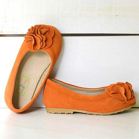Boutique Rosette - Foxpaws Orange Boutique Suede Rosette Kate Shoes Little Girls 11-12