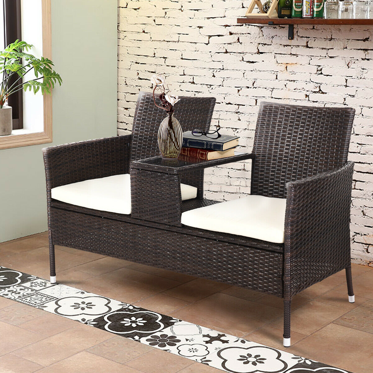 Costway Patio Rattan Chat Set Seat Sofa Loveseat Table Chairs w/ Cushion - image 2 de 9